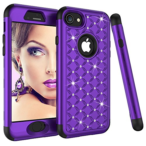 Full Bling Purple Flowers - iPhone 8 Case, iPhone 7 Case, SUMOON 3 in 1 [Studded Rhinestone][Full-Body Protective] [Shockproof] Hard PC+ Soft Silicon Rubber Armor Defender Protective Case Cover for iPhone 8/7 (Purple+Black)
