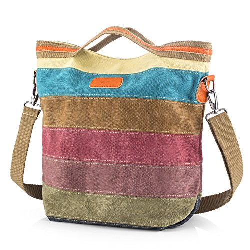 Canvas Handbag SNUG STAR Multi-Color Striped Lattice Cross Body Shoulder Purse Bag Tote-Handbag for Women (Striped Womens Handbag)