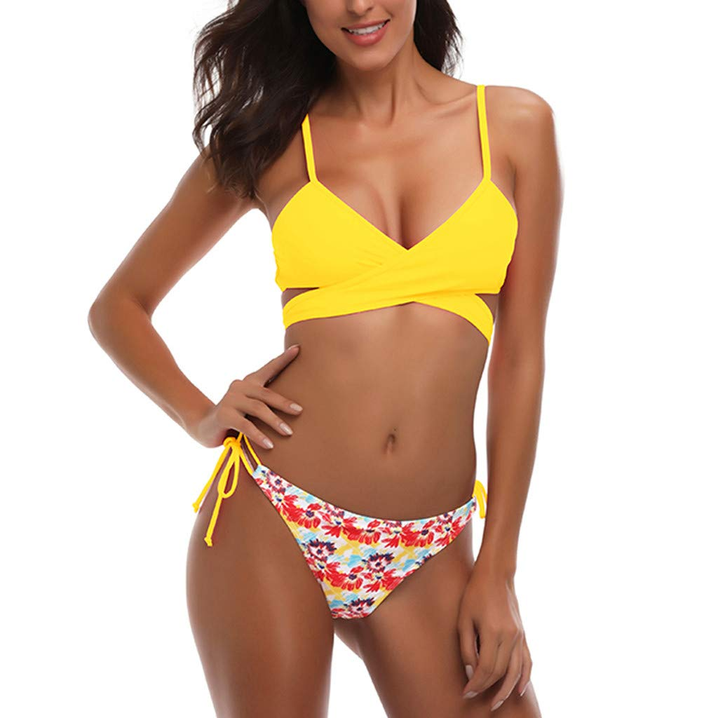 TWGONE Bikini Swimsuit For Women Cheeky Bottoms With Top Padded Lace-up Fruit Floral Print Beach Bathing Suit (X-Large,Yellow)