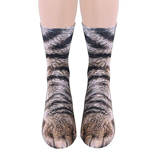 3D Socks Unisex Adult Animal Paw Crew Socks - Sublimated Print (Cat) -