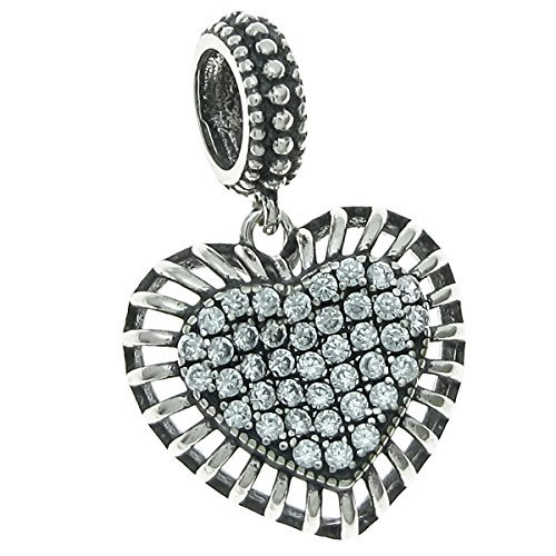 Sterling Silver Cubic Zirconia Valentine Love Heart European Style Dangle Bead Charm by Queenberry
