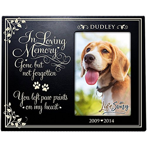 (LifeSong Milestones Personalized Pet Memorial Gift, Sympathy Photo Frame, in Loving Memory Gone But Not Forgotten You Left Paw Prints On My Heart Custom Frame USA Made Holds 4x6 Photo)