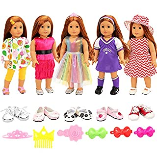 BARWA American Doll Girl Doll Clothes and Accessories 5 Sets Clothes Dress Outfits with 2 Pairs Shoes for 18 Inch Dolls