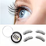 Magnetic False Eyelashes,New 3D Reusable Fake Eyelash Ultra Thin Natural Look,2 Pair 4 Pieces (Double Magnets, A)