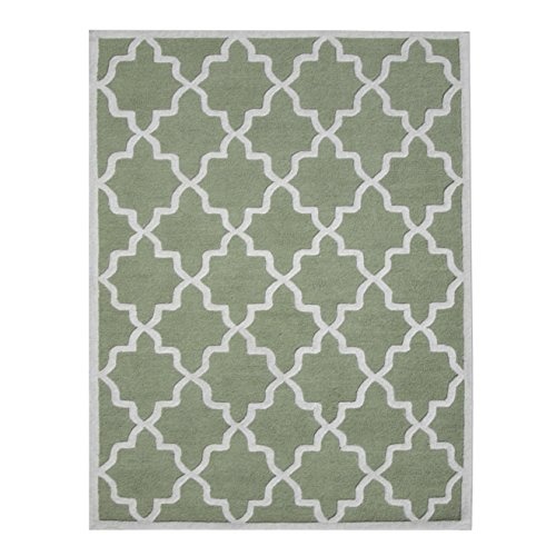 Mint Green and Ivory Hand-Tufted Area Rug, 100% Natural Wool Moroccan Trellis Design, Plush Hi/Low Cut Pile 5'x8' by DecorShore