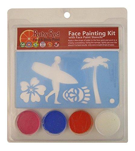 Ruby Red Paint Face Paint, 2ML X 3 Colors - Luau Stencil Set]()