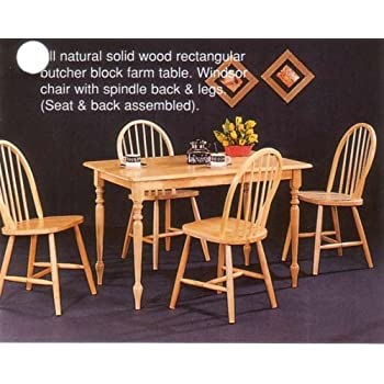 New Natural Butcher Block Farm Dining Table U0026 4 Chairs