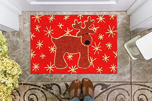 Cranberry Mats Designer Natural Coir Non Slip Doormat for Patio, Front Door, All Weather Exterior Doors (16 X 28 Inch, Red Reindeer Animal)