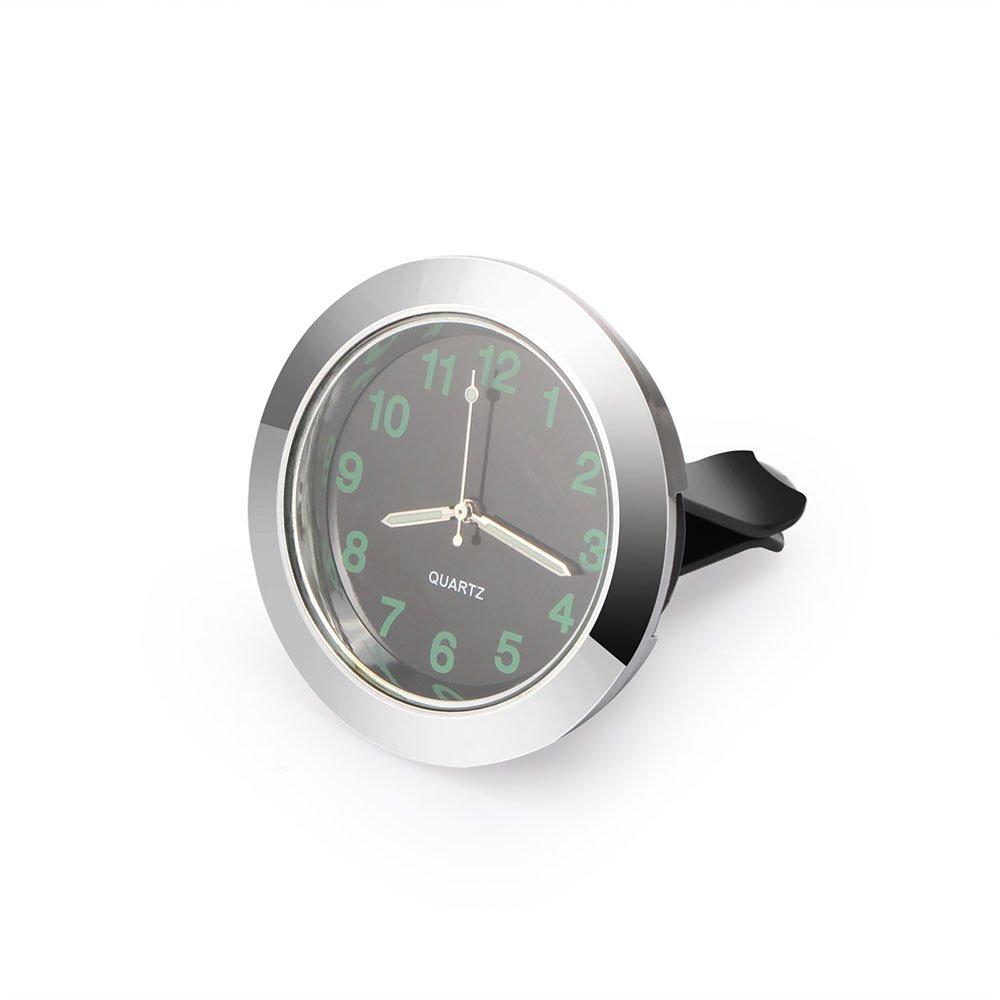DDSKY Universal Car Air Vent Quartz Clock Auto Interior Watch Luminous Stick-On Clock with Clip Dia. 1.7''