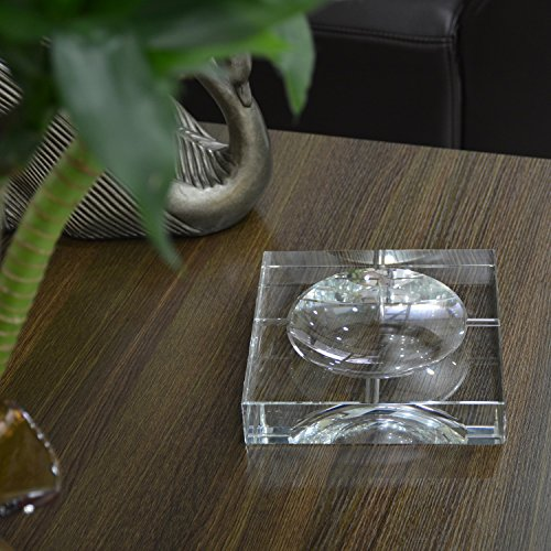 BRLIGHTING Cigar Ashtrays Clear Crystal Ashtray for Indoor Outdoor Diameter 7.6inch Big Ash Tray for Hotel Office Tabletop Decor