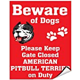 Beware Of American Pitbull Terrier Dog On Duty Vinyl LABEL DECAL STICKER 18 inches x 24 inches