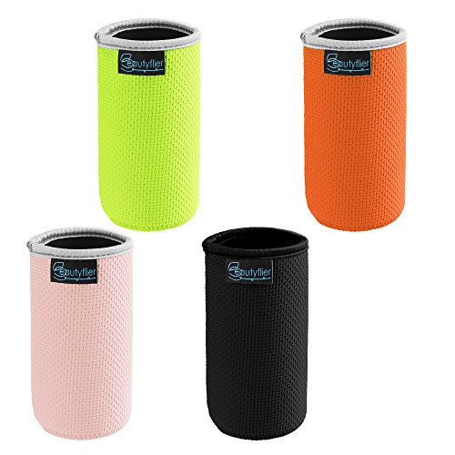 Beautyflier Pack of 4 Anti-Slip Embossed Neoprene Bottle Insulator Sleeve 3mm Thick Collapsible Drink Can Coolie Cover for BBQ Camping Party (12Ounce(fluorescent yellow/black/orange/pink)) -