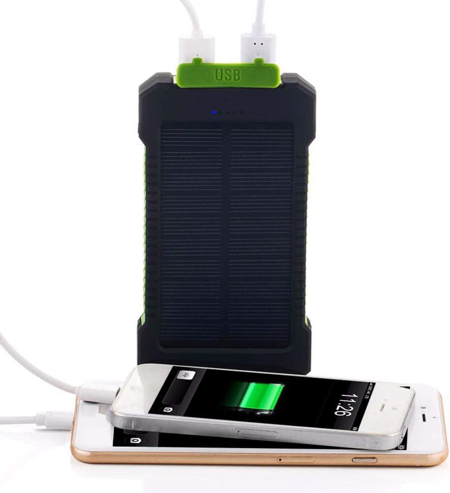 WXJHA Portable 20000 mAh energia Solare Bank Qi-Certified Ricarica 20000mAh Batteria Esterna Portatile Bateria Pacchetto per Il Telefono Mobile,Arancia Orange
