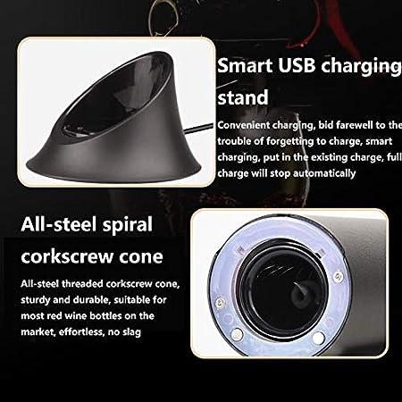 Sacacorchos Recargable/TecnologíA de Sensor Inteligente/Apertura AutomáTica de Botellas/OperacióN Simple y Silenciosa/Con Base de Carga Inteligente USB/Regalo Ideal para Amantes Del Vino