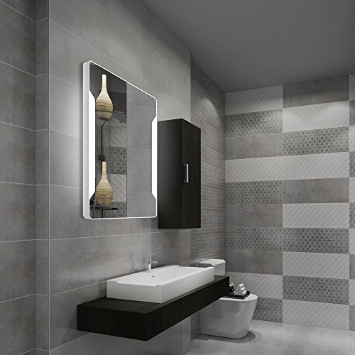 Stamo Vanity Bathroom Silvered Anti-Fog Mirror LED Lighted with Touch Button Vertical Bathroom Vanity Lighted, dimmable Lighting Mirror by Stamo (Image #1)