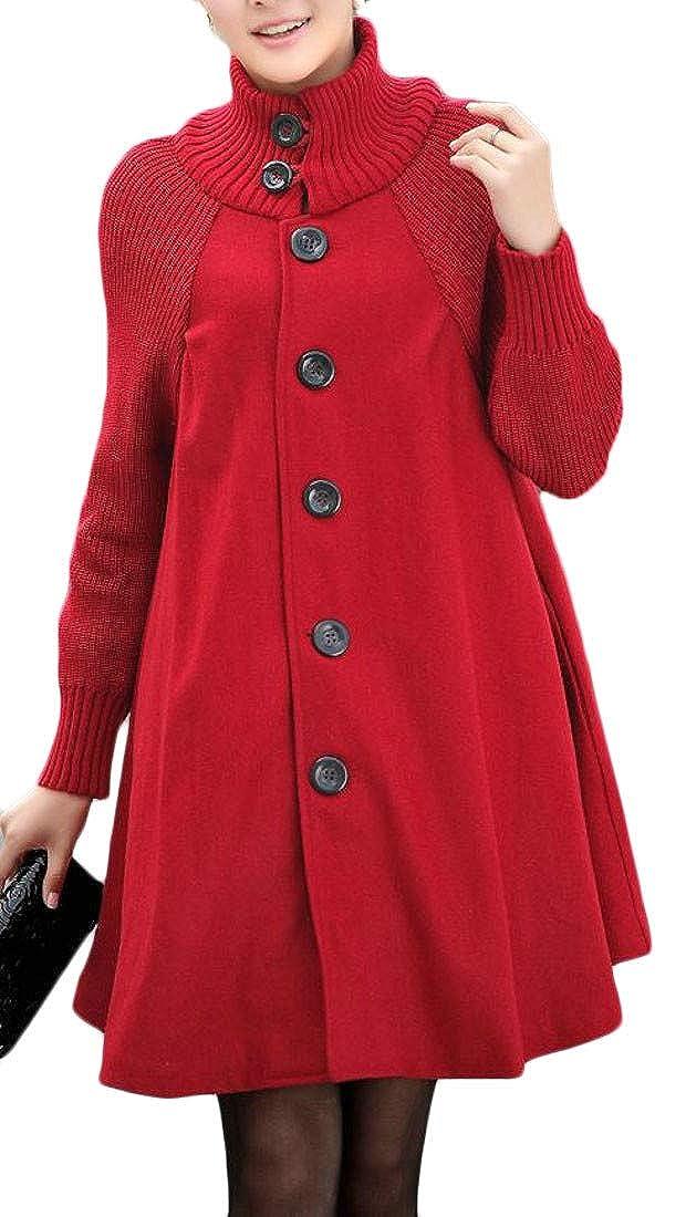 Joe Wenko Womens Turtle Neck Loose Single Breasted Cape Dress Coat Wool Overcoat