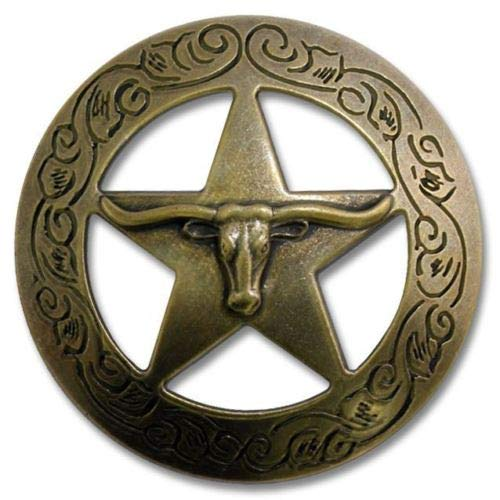 ShopForAllYou Spikes and Studs 2923SB-M12 1 1/2 Antique Brass Traditional Texas Steer Chicago Screw Back Concho