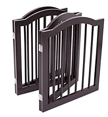 Internet's Best Pet Gate with Arched Top   3 Panel   24 Inch Step Over Fence   Free Standing Folding Z Shape Indoor Doorway Hall Stairs Dog Puppy Gate   Fully Assembled   Espresso   Wooden