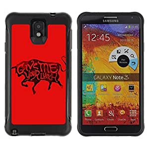 Hybrid Anti-Shock Defend Case for Samsung Galaxy Note 3 / Cool Bull & Lunch Message