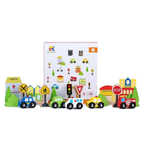 Transportation & Sign Playset For Kids By Ray's Toys | Beautiful & Colorful Small Cars, Signs, Trees & Buildings With 2 Types of Road Tapes, Safe Paint | Educational & Fun Toy Set Small Wooden Cars