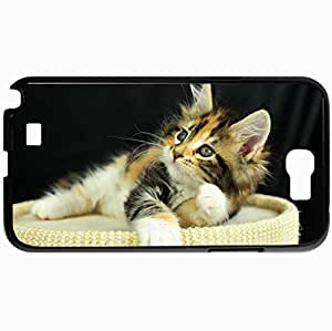 Personalized Protective Hardshell Back Hardcover For Samsung Note 2, Cat Kitten Kote Eyes View Red Design In Black Case Color