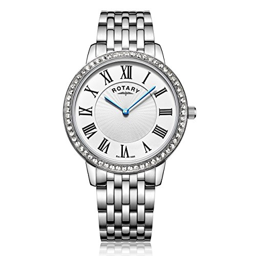 Rotary Women's Quartz Watch with Silver Dial Analogue Display and Silver Stainless Steel Bracelet