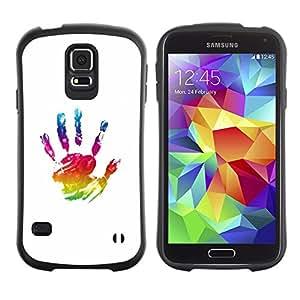 LASTONE PHONE CASE / Suave Silicona Caso Carcasa de Caucho Funda para Samsung Galaxy S5 SM-G900 / Paint Hand Mark Colorful Art Oil