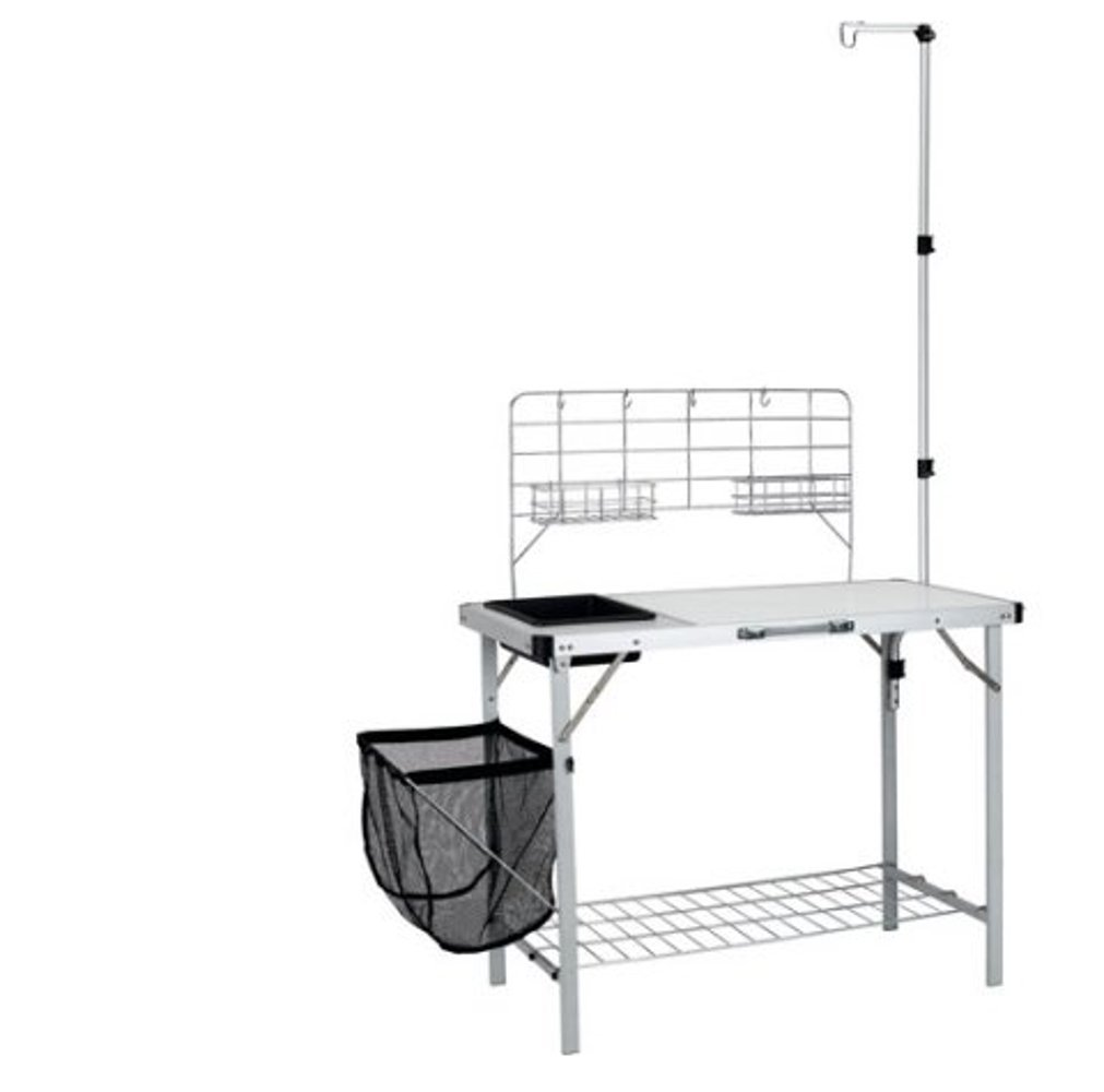 Portable Prep Station, Steel Material, Black/White Color, Lightweight, Easy Transportation, Stylish Design, Easy Assembly, Ideal For Outdoor Spaces, Sturdy And Durable Construction & E-Book
