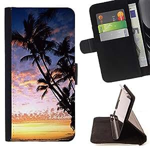 - Hawaii Palm Trees Beach - - Monedero PU titular de la tarjeta de cr?dito de cuero cubierta de la caja de la bolsa FOR Samsung Galaxy S5 V SM-G900 Retro Candy