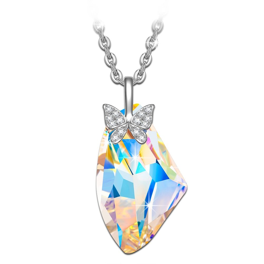 NINASUN Girl Jewelry Butterfly Necklace Wing s925 Sterling Silver Pendant Necklace Animal Swarovski Crystal Fine Jewelry for Women Birthday Gifts for Her Girlfriend Anniversary Gifts for Wife Women