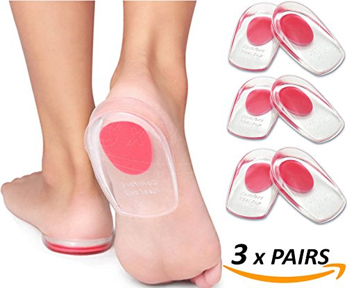 Armstrong Amerika Heel Pain Inserts Silicone Gel Insole Pads Heel Cups Protectors for Plantar Fasciitis Sore Feet Bruised Heel Foot Pain Bone Spurs Treatment & Relief Gels (Small)