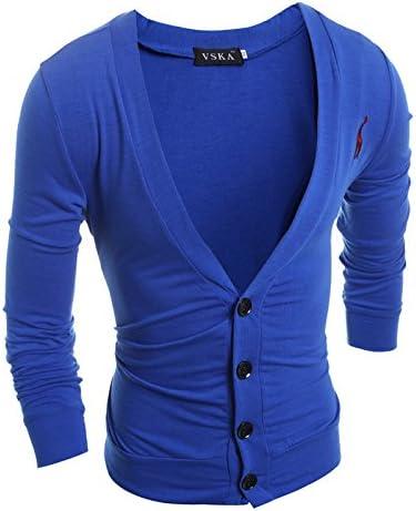 HY-Sweater Hombre de Camisa Abierta y versátil de Manga Larga reparación de los jóvenes en Europa y América, Azul Real,2XL: Amazon.es: Deportes y aire libre