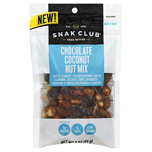 Coconut Club - Snak Club Chocolate Coconut Nut Mix, 3-ounces, 6-Pack