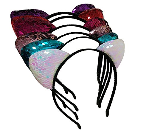 Seventopia Girls Cute Colorful Sequin Cat Ear Headband Cat Themed Birthday Party Cosplay Costume Accessories