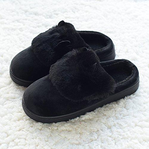 grazioso piscina pantofole lana Caldo orecchio in slittamento DogHaccd stare inverno caldo giovane casa a Nero2 cotone pavimento pantofole anti legno autunno 6dSwBvx