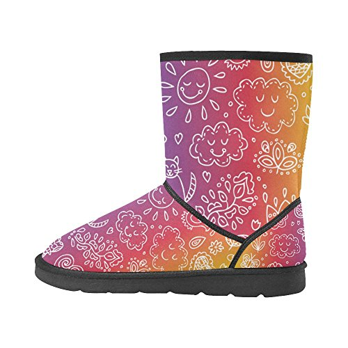 Color7 Ladies Snow Classic Abstract 5 Size Doodle Colorful Print Womens Boots 5 Starts InterestPrint 12 Pattern Tribal xawgqE