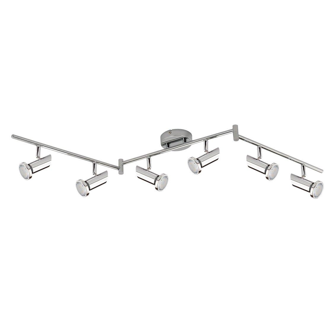 Trango 6-flg. LED Deckenleuchte inkl. 6x GU10 3000K warm-weiß LED Leuchtmittel direkt 230V TG2000-068