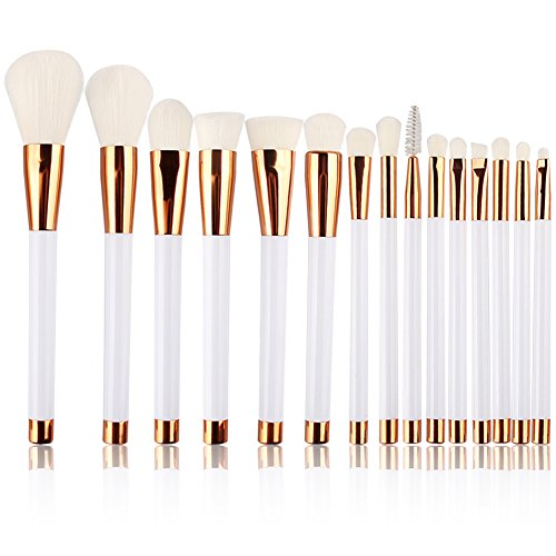 Summifit 15 Pcs Professional Makeup Brushes Set Powder Foundation Contour Blending Eyeshadow Eyeliner Bronzer Lip Brush Kit (White Rose (White Face Makeup Powder)
