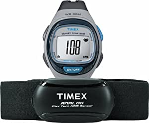 Timex Unisex T5K738 Personal Trainer Analog HRM Flex Tech Chest Strap & Full-Size Gray/Blue Watch