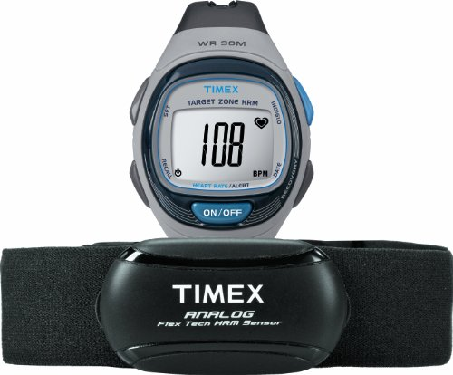 Timex Unisex T5K738 Personal Trainer Analog HRM Flex Tech Chest Strap & Full-Size Gray/Blue