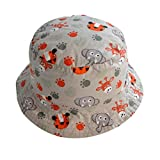 TANGDA Kids Toddler Cotton Fisherman Hat Cute Zoo Pattern Sunhat With Chin Strap