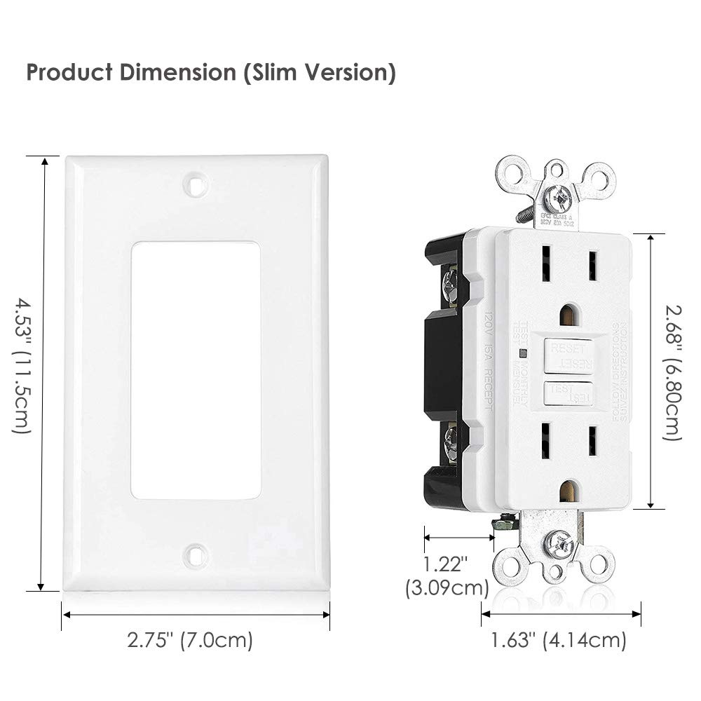[12 Pack] BESTTEN 15A GFCI Outlets, Slim, Non-Tamper-Resistant GFI Duplex Receptacles with LED Indicator, Auto-Test Ground Fault Circuit Interrupter with Decor Wall Plates, UL Listed, White, USG5 by BESTTEN (Image #5)