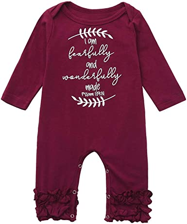 Newborn Toddler Baby Red Long Sleeve Letter Romper Jumpsuit Clothes Outfits