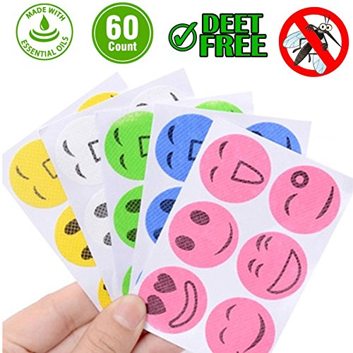 Mosquito Repellent Patches 60 Count / 90 Count Natural Mosquito Stickers for Kids Children Adults Keeps Insects and Bugs Far Away for Home Camping Travel and Outdoors