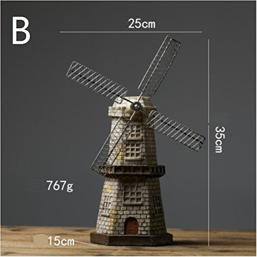 retro wine cooler Dutch windmill model ornaments small home living room window store American art TA122512 ( Size : F )