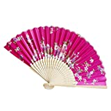 Folding Hand Held Flower Fan | Vintage Bamboo Chinese Dance Party Pocket Gifts (M)