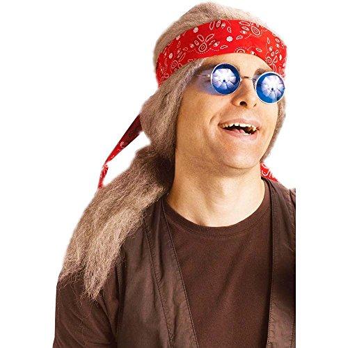 Fun World Men's Old Hippie Wig Costume Accessory, Multi Standard
