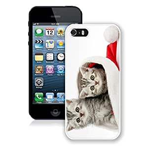 New Design Cats In Red Christmas Hat Iphone 5s Case,Phone Case For Iphone 5,Iphone 5 White TPU Cover