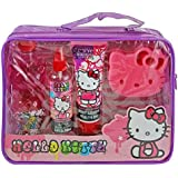 Hello Kitty Bath & Beauty Shower Gift Set - Strawberry Scented Tub Time Fun with Pink Cat Face Sponge, Body Wash, Body Lotion, Glitter Body Spray in a Purple Carry Bag/Tote