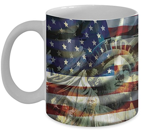 Patriotic Mug \ American Flag, Statue of Liberty Image \ Mugs With Images by Vitazi Kitchenware, 11 oz Ceramic Coffee Mug - USA, Military and Veterans Gift (White)